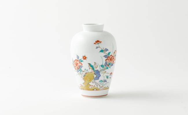 1313_有田焼/十二代柿右衛門/錦牡丹花鳥文花瓶