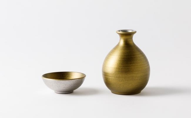 2421_有田焼/金照堂/麟Linプラチナ達磨徳利とぐい呑Gold