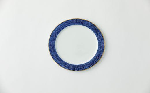 飛び鉋ディナープレート青藍地縁金