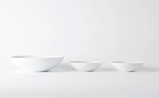 有田焼/李荘窯/白磁ブラスト鎬ボールL 1個とS 2個
