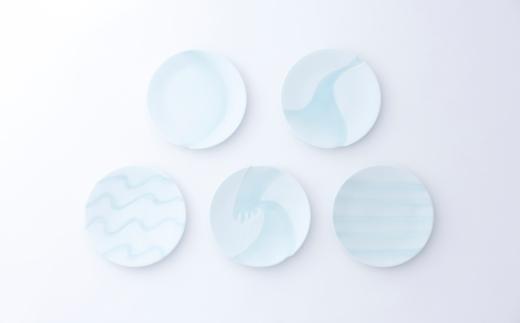 有田焼/照井一玄/青白磁6寸皿水もよう5枚