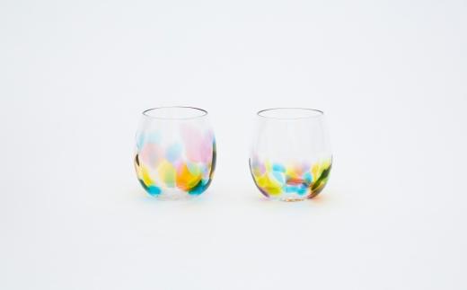 肥前びーどろ/副島硝子工業/虹色しずく型グラス2客